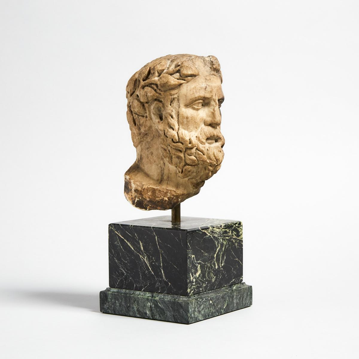 Roman Marble Head of Dionysus, 2nd century A.D., head height 6.25 in — 15.9 cm - Image 2 of 3