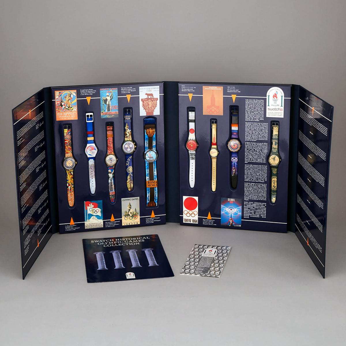 Lot 125 - Swatch Historical Olympic Games Collection of Wristwatches, 1996, each watch length 9.1 in — 23 cm;