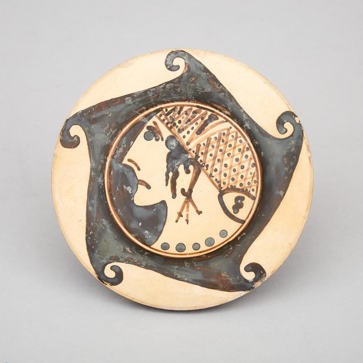 Greek Corinthean Pottery Kylix, 5th-4th centiury B.C., height 2.25 in — 5.7 cm, diameter 5.6 in — 14 - Image 2 of 2