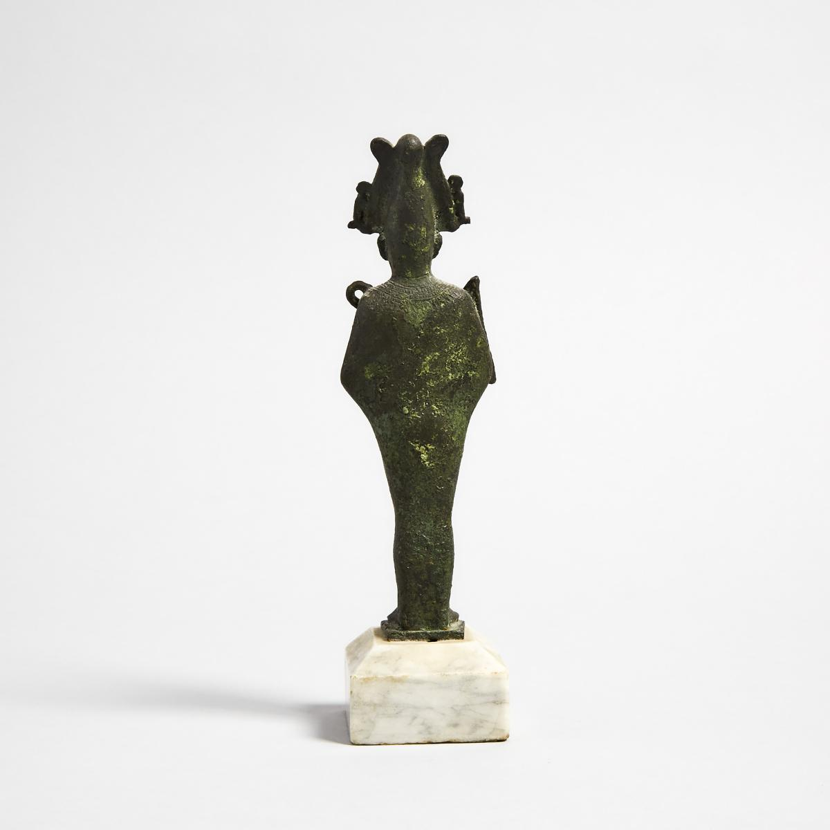 Egyptian Bronze Figure of Osiris, 26th/30th Dynasty, 664-342 B.C., figure height 6.5 in — 16.5 cm; 7 - Image 2 of 2