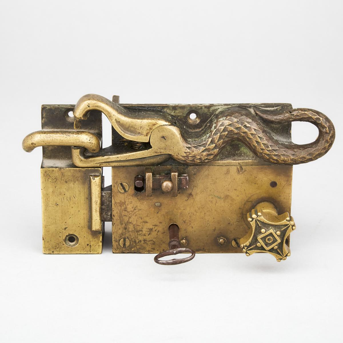 Serpent Form Brass Door Lockset, 18th century or earlier, 3.9 x 7.9 in — 10 x 20 cm