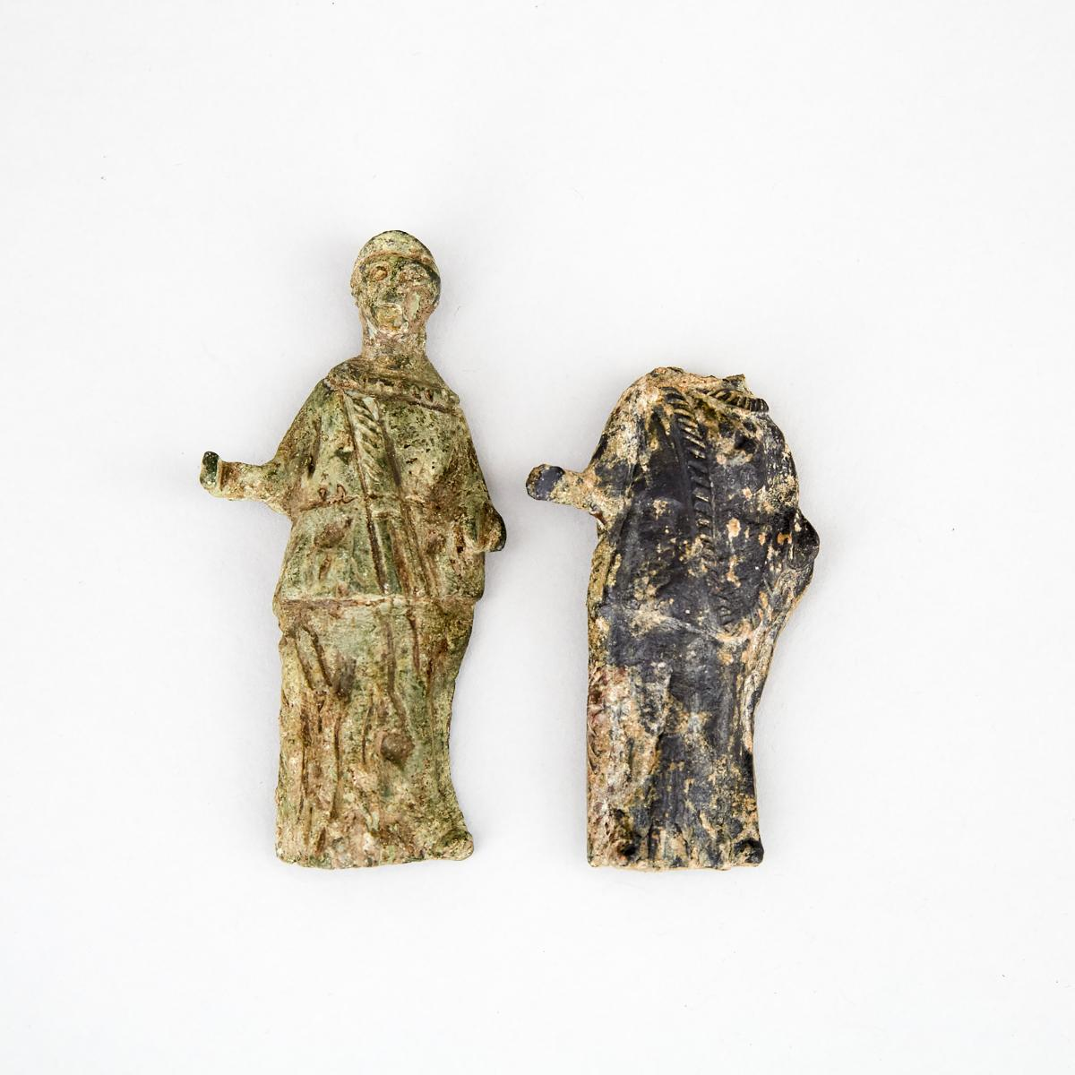 Two Roman Bronze Figures of Athena, 1st-2nd century A.D., height 3.75 in — 9.5 cm
