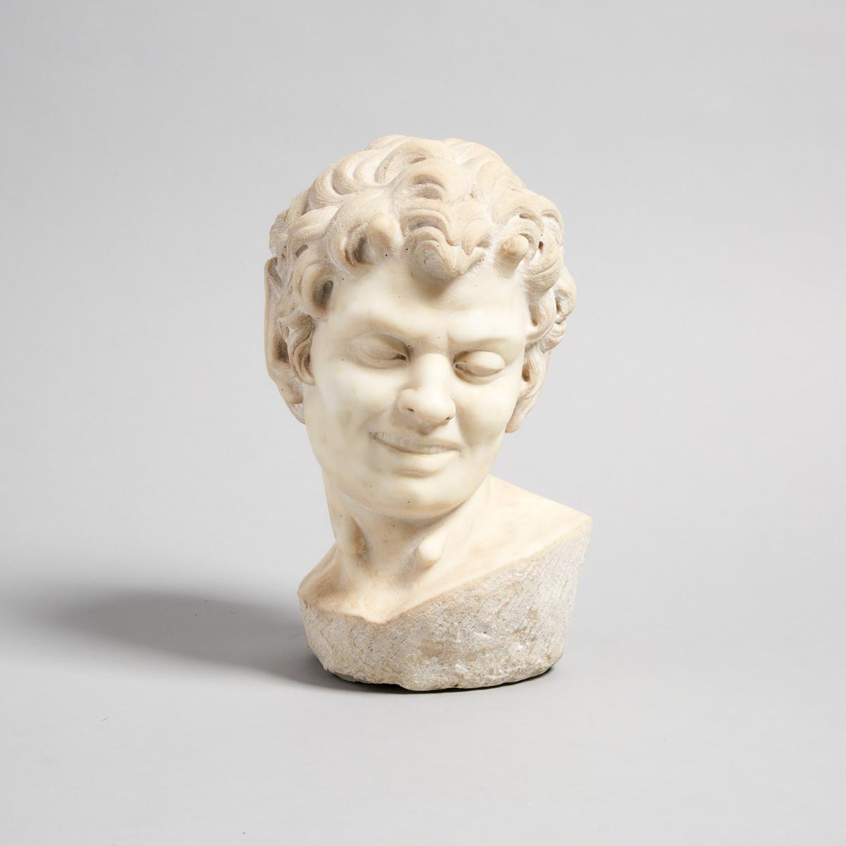 After the Ancient Carved Marble Head of a Satyr, 19th/early 20th century, height 10.25 in — 26 cm