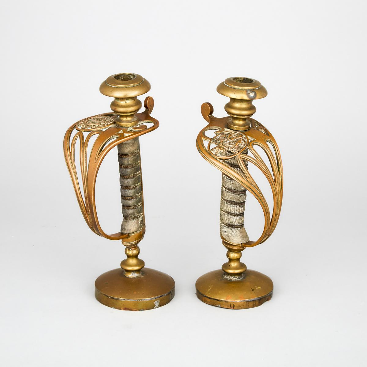 Pair of Victorian 1822 Pattern Sword Hilt Candlesticks, 19th century, height 10.25 in — 26 cm