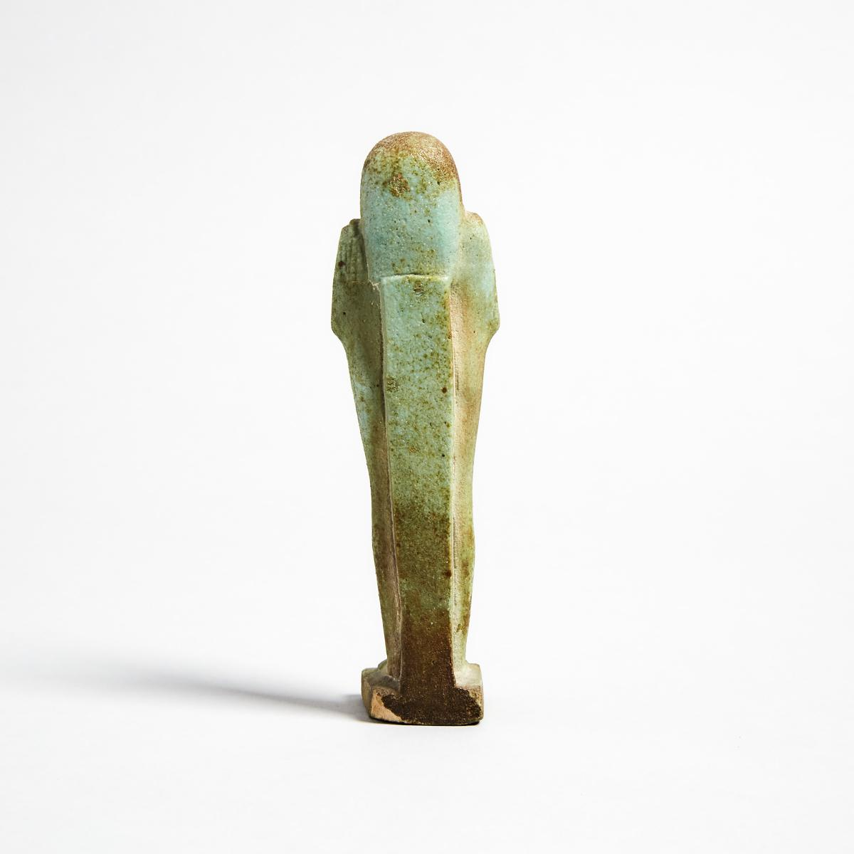 Egyptian Turquoise Faience Shabti, Late Period, 664-332 B.C., height 5.1 in — 13 cm - Image 2 of 2