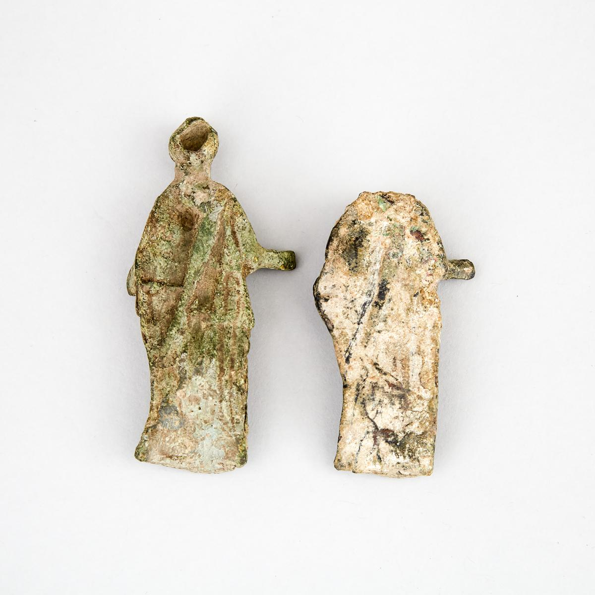 Two Roman Bronze Figures of Athena, 1st-2nd century A.D., height 3.75 in — 9.5 cm - Image 2 of 2