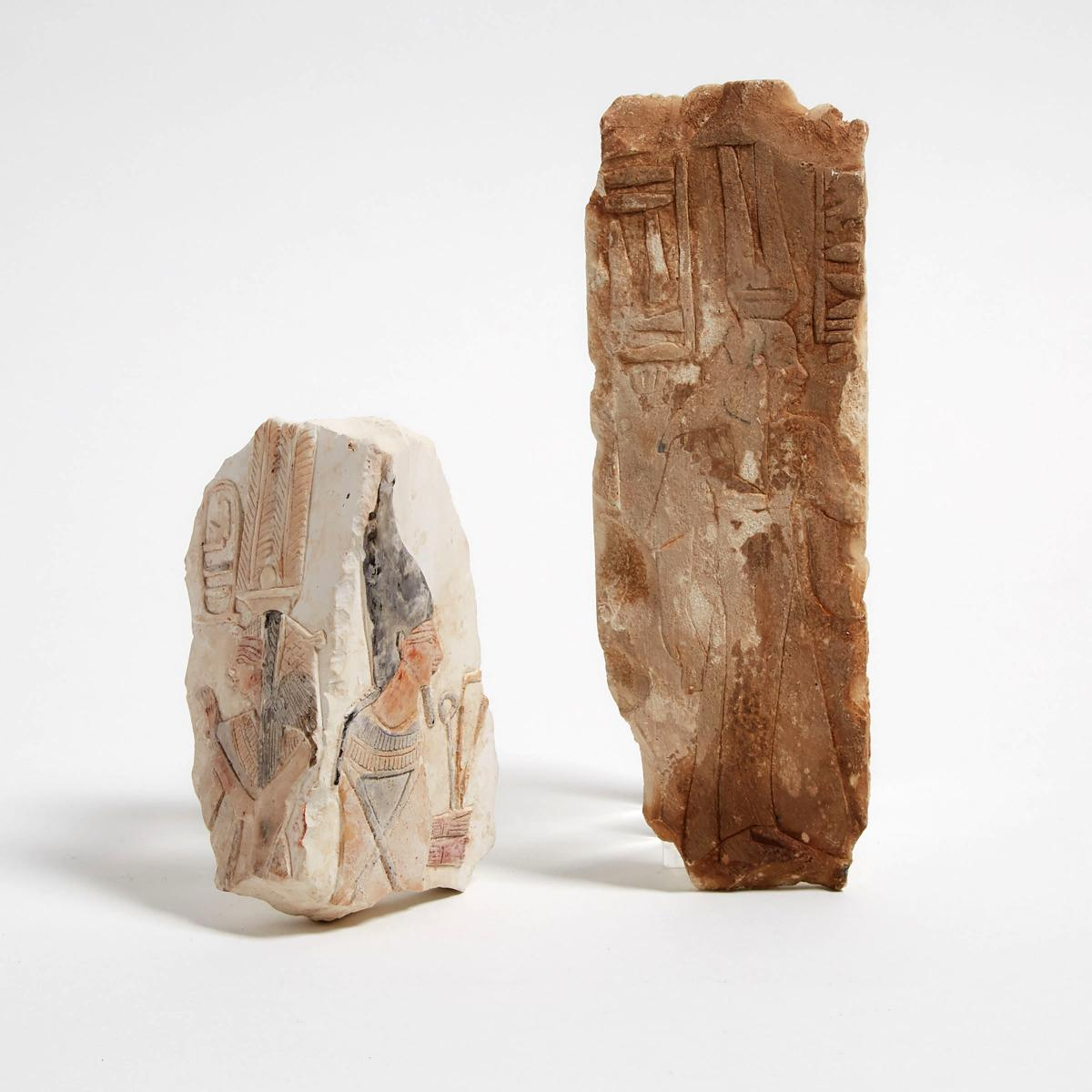 Two Ptolmaic Period Style Egyptian Painted Limestone Tomb Fragments, taller height 8.25 in — 21 cm (