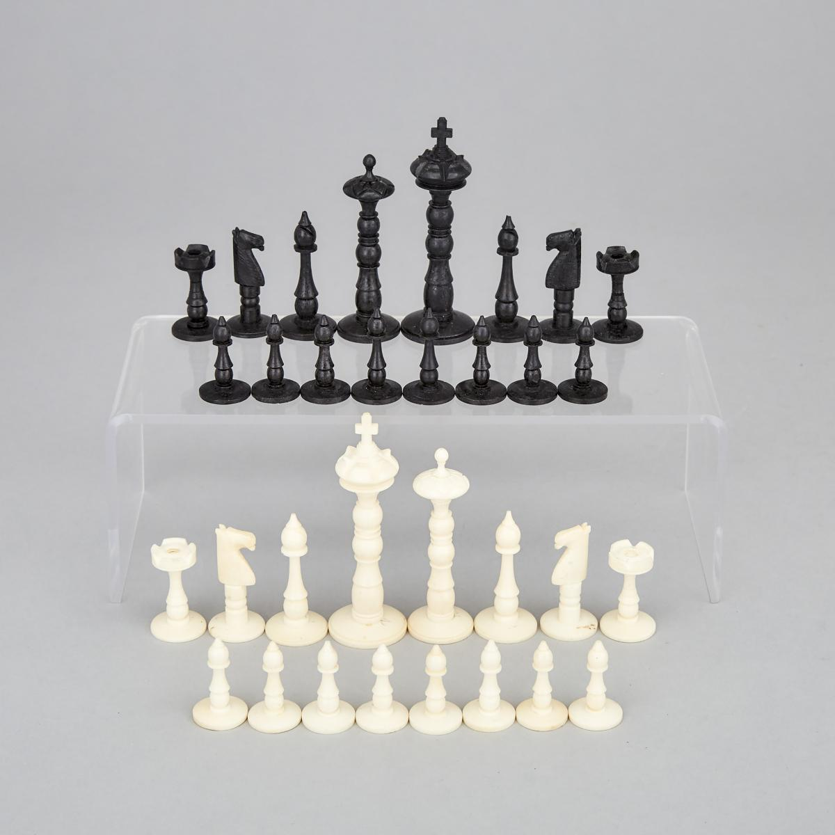 Indian Camel Bone Chess Set, early-mid 20th century, height 3.5 in — 8.9 cm