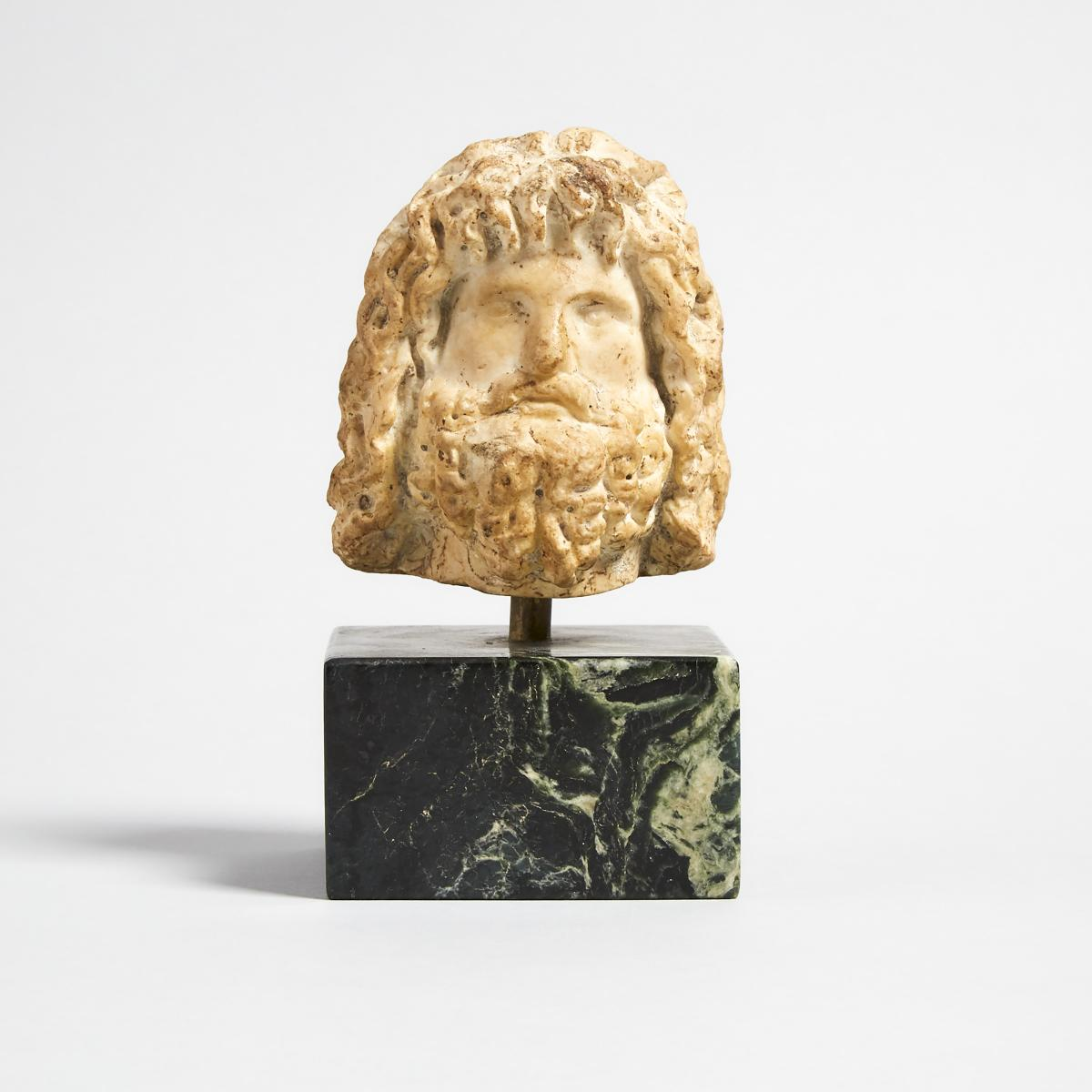 Roman Marble Head of Serapis, 2nd century A.D., head height 4.1 in — 10.4 cm; 6.75 in — 17.1 cm