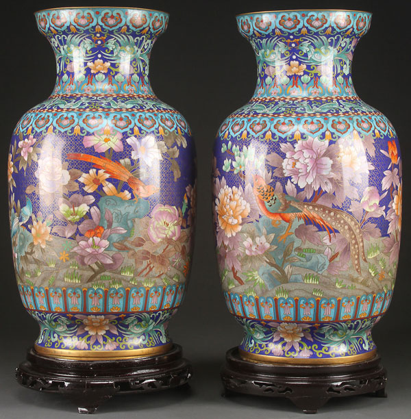A PAIR OF LARGE CHINESE CLOISONNÉ ENAMELED FLOOR VASES