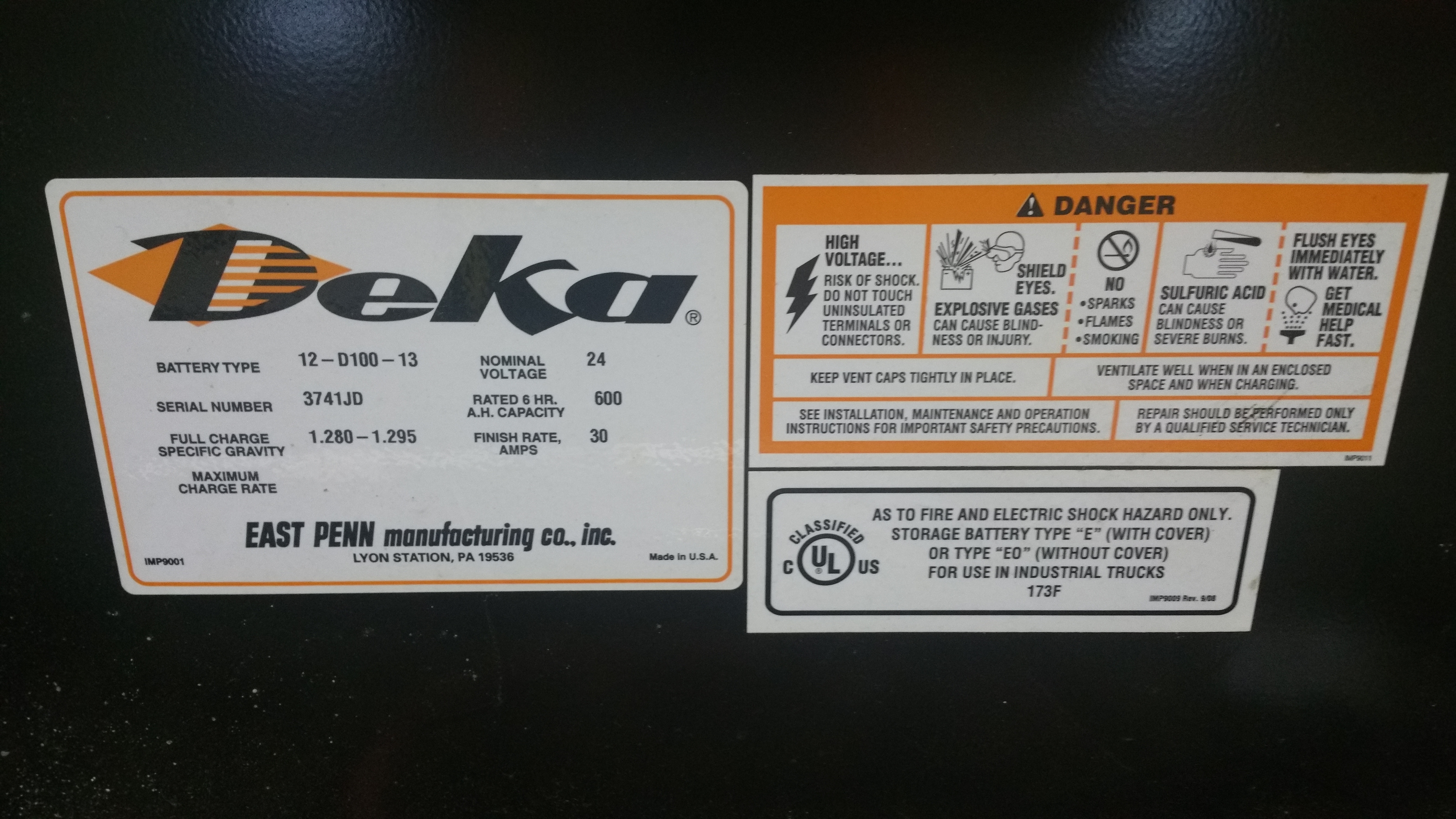 "Lot 40 - (3) Deka D Series 24V Batteries, New in 2014 Used Less Than 6 Months, 12 ¾"" x 30 11/16"" x 28"