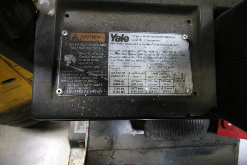 Lot 14 - YALE, 3 Stage Mast Forklift, Model ERC060, S/N E108V08496V, 4,750lbs Capacity, 187.8 inch Load