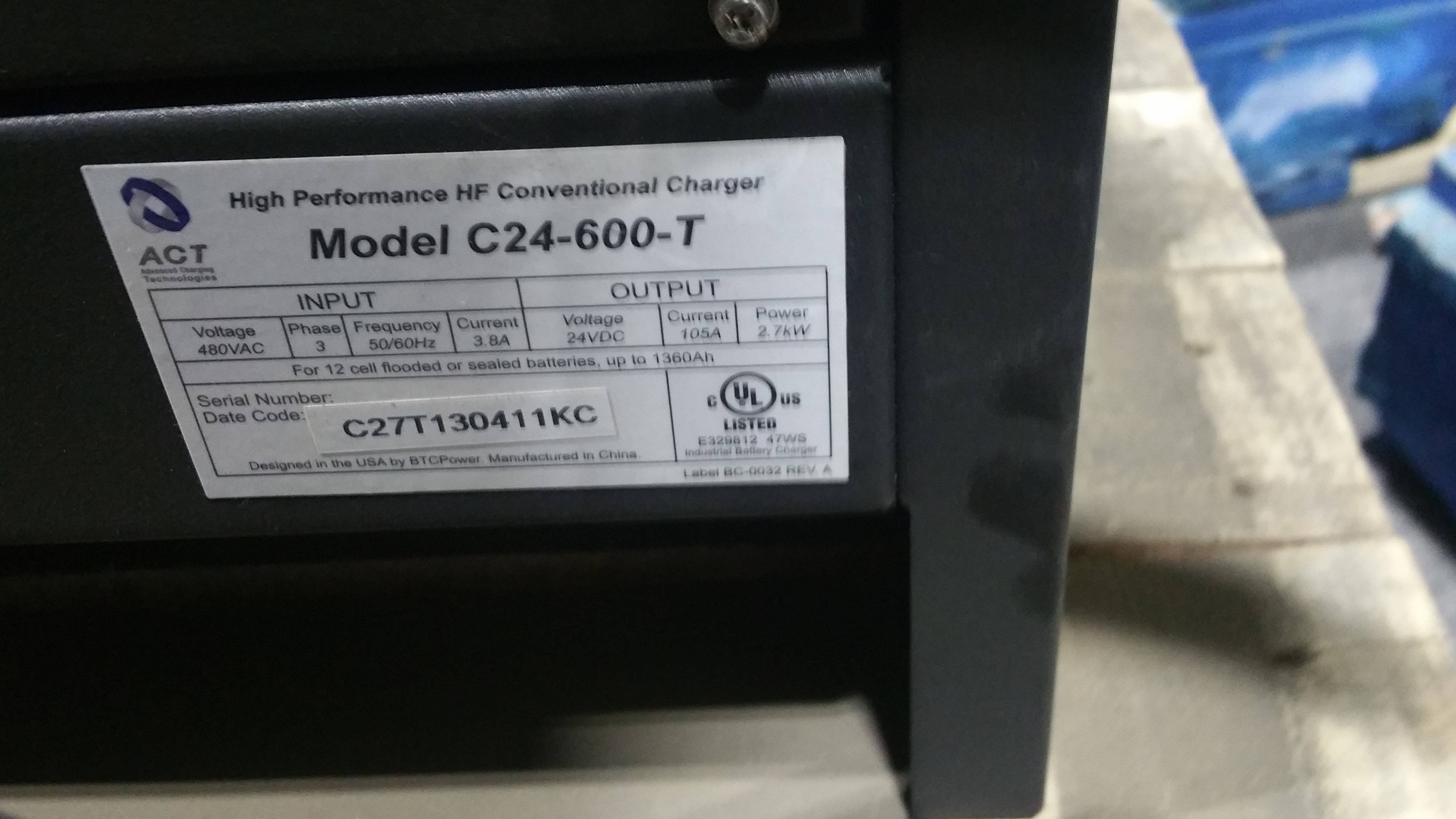 Lot 28C - NEW ACT 24 600T 24V Battery Charger Tagged Lot 3c (Located in Indiana)
