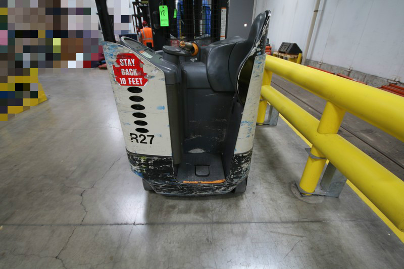 Lot 18 - CROWN Stand Up Forklift, Model RD5220, S/N 1A321881, Long Reach Fork Extenders, Side Shift