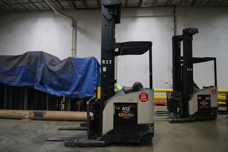 Lot 21 - CROWN Stand Up Forklift, Model RD5220, S/N 1A322008 , Long Reach Fork Extenders, Side Shift