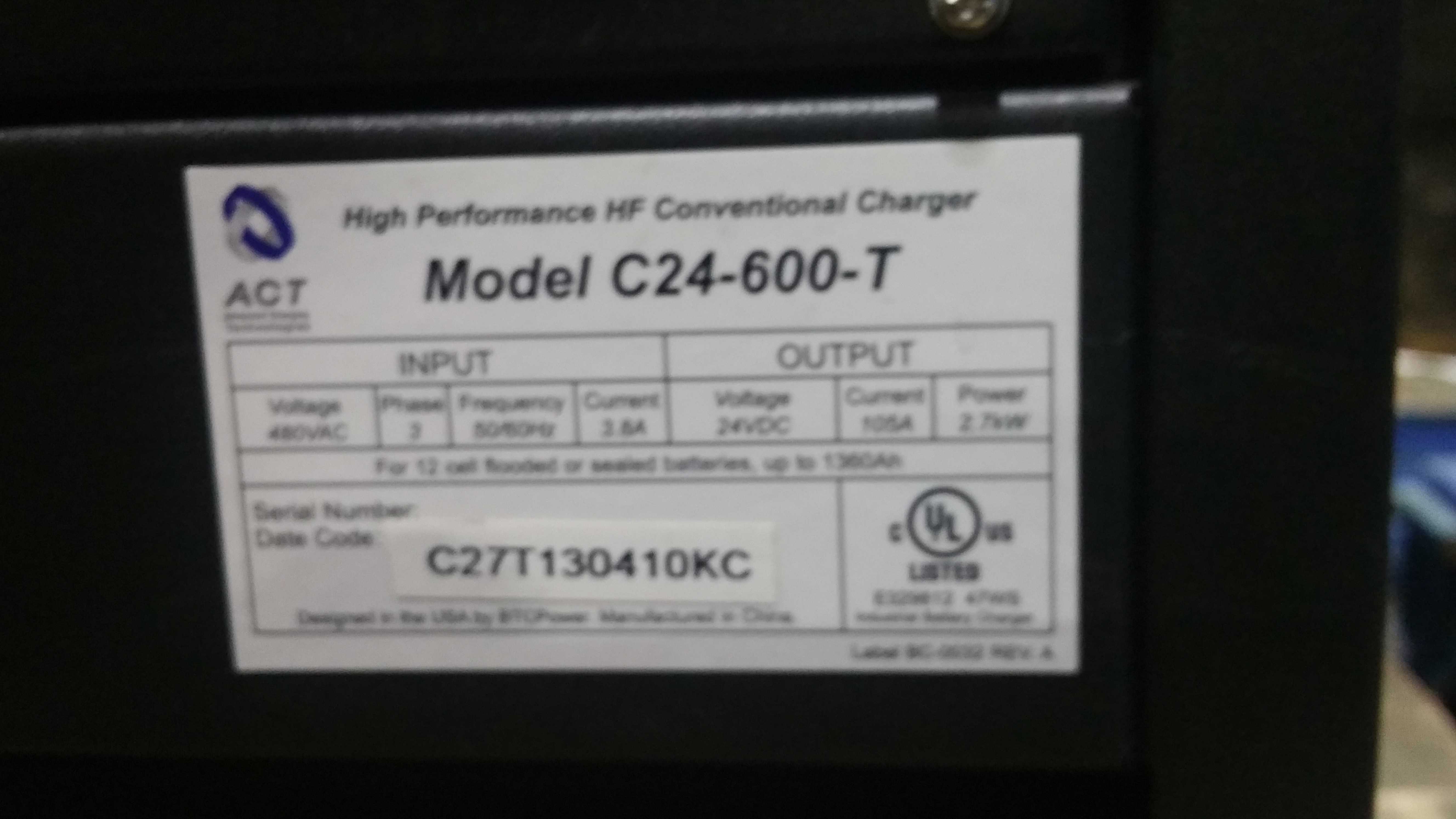 Lot 28B - NEW ACT 24 600T 24V Battery Charger Tagged Lot 3b (Located in Indiana)
