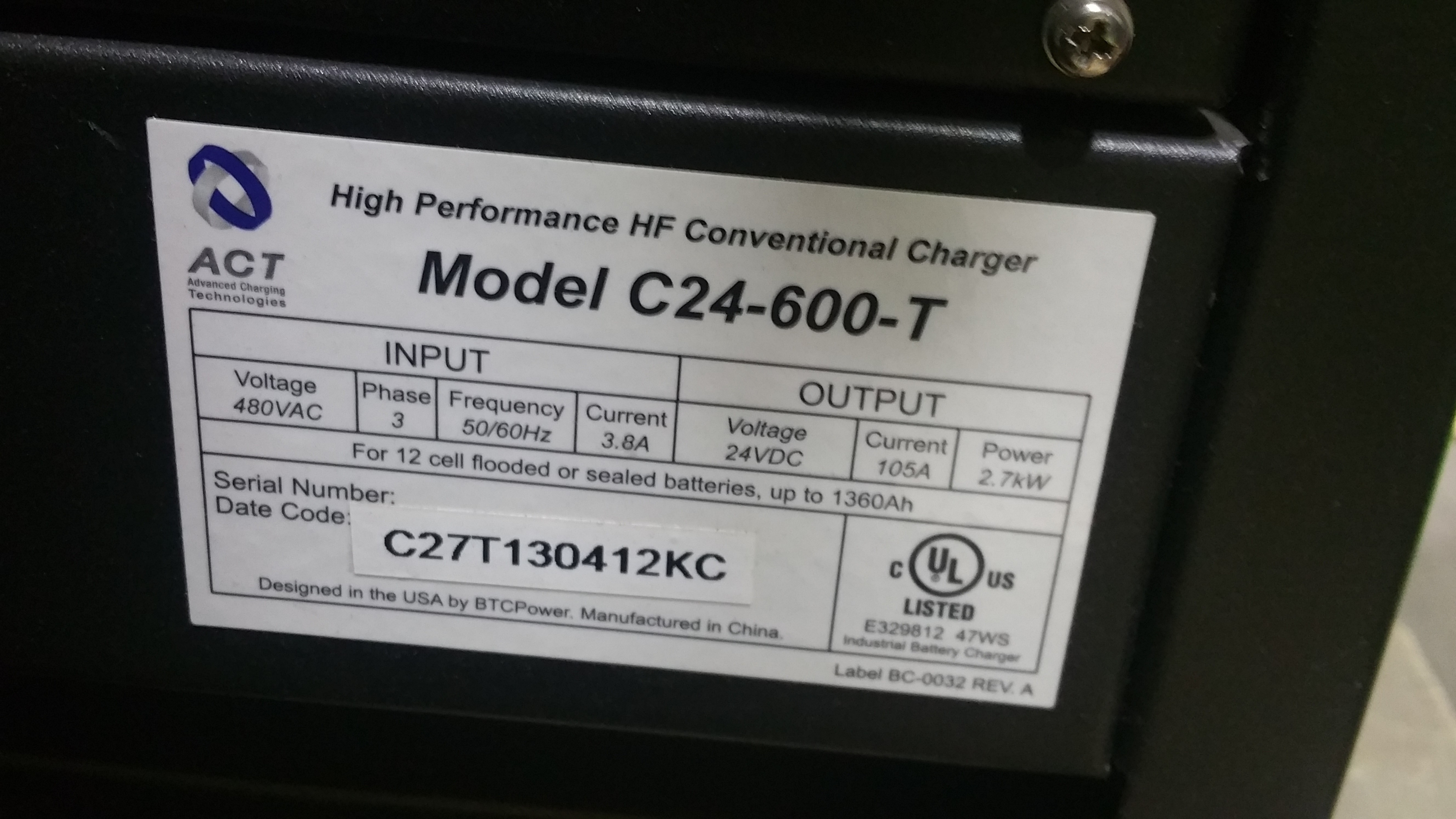 Lot 28A - NEW ACT 24 600T 24V Battery Charger Tagged Lot 3a (Located in Indiana)