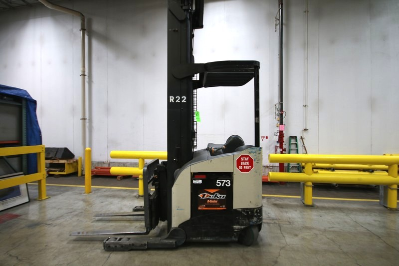 Lot 17 - CROWN Stand Up Forklift, Model RD5220, S/N 1A321883, Long Reach Fork Extenders, Side Shift