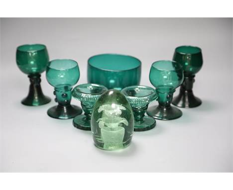 A group of 19th century green glass and a Victorian dump paperweightCONDITION: One of the dishes with turnover rims - small c