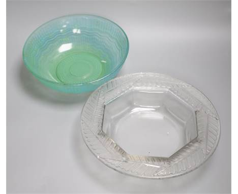 A Lalique post-war fern-rimmed circular bowl with octagonal interior and a green glass fruit bowl with geometric and linear m