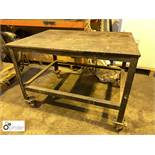 Mobile steel framed Work Table, 1180mm x 870mm, with timber top (please note this lot is located