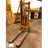 Logitrans EHS 1000/1400 pedestrian Stacker Truck, 1000kg capacity, 240 Volts (please note this lot