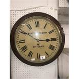 A W Betsworth and Son Bitterne mahogany cased station clock