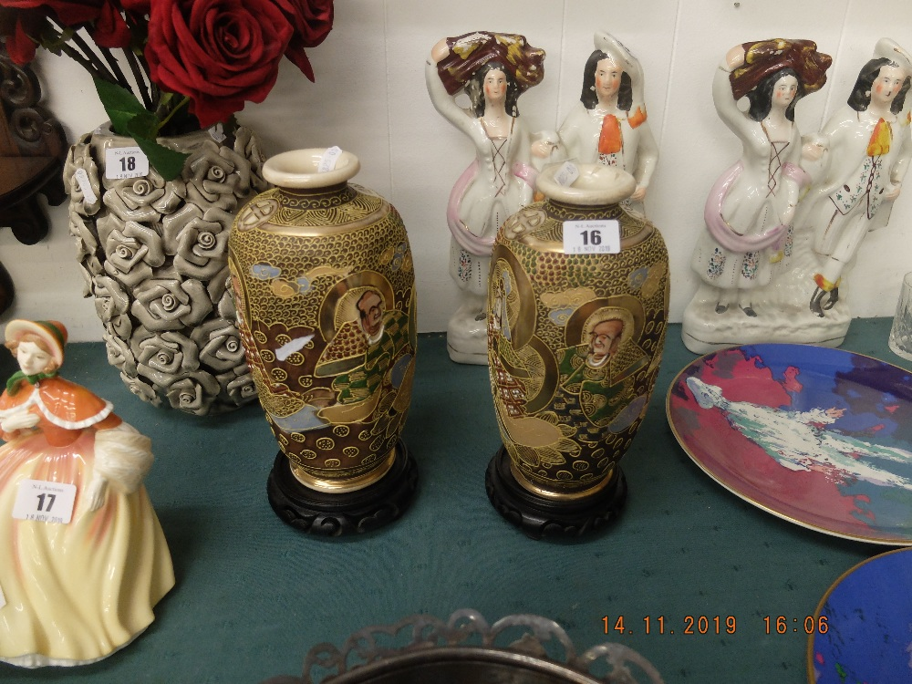 A pair of Satsuma vases on stands - Image 2 of 2