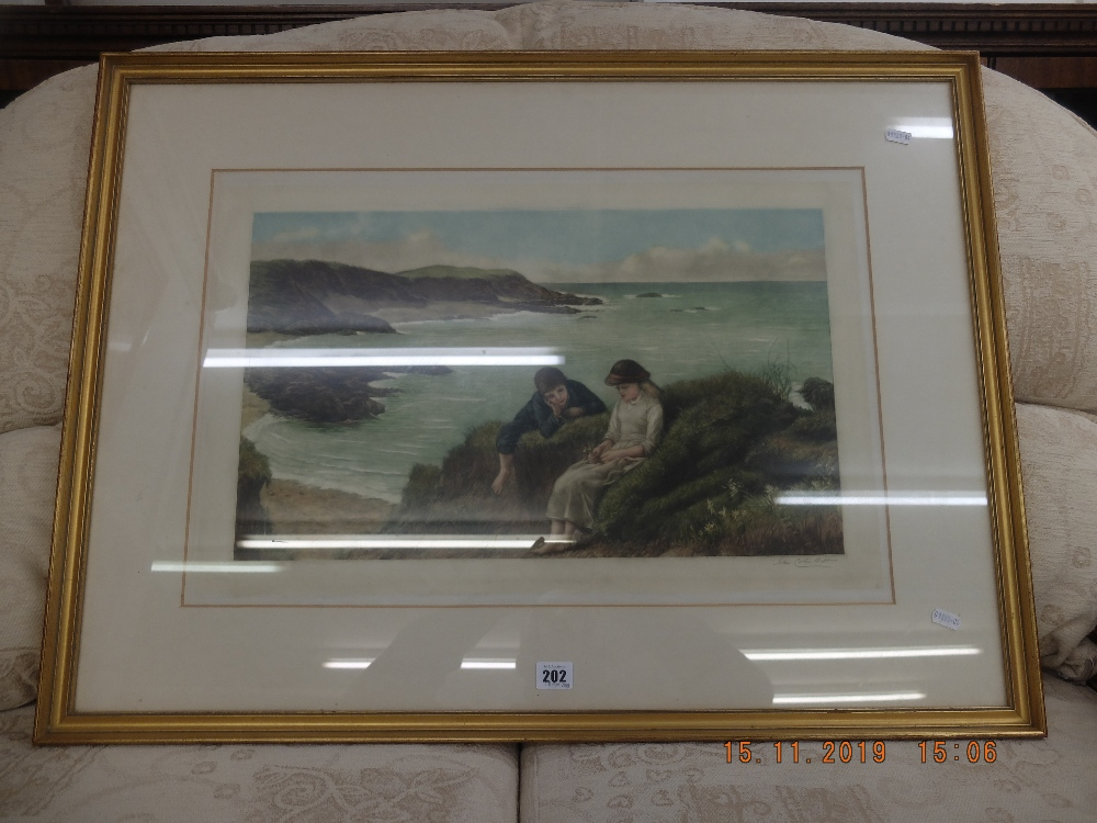 A 19th century framed colour engraving, coastal scene with figures,