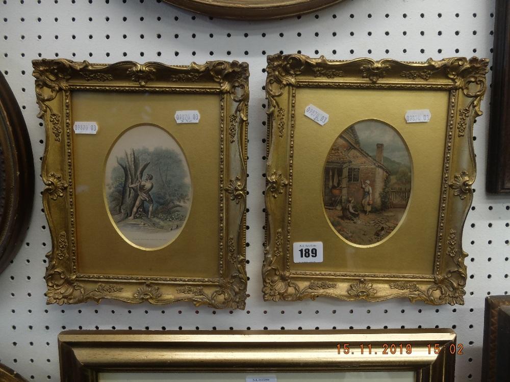 Lot 189 - A pair of gilt framed coloured prints