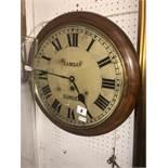 A Ramsey Dundee mahogany cased station clock