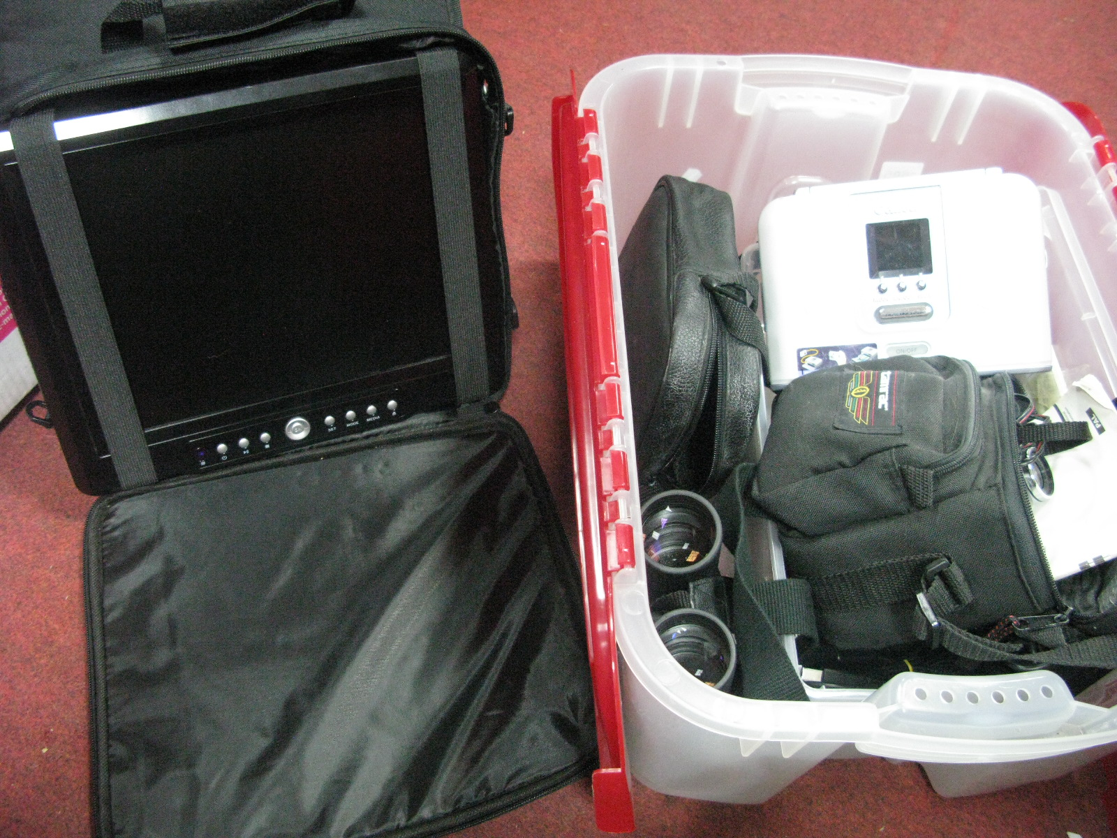 Lot 1095 - Portable DVD Player, Canon digital video camcorder, Opticron 8 x 42 BGA Binoculars, Canon Selphy