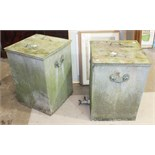 A pair of galvanized metal storage lidded bins, 43cm square, 60cm high, (2).