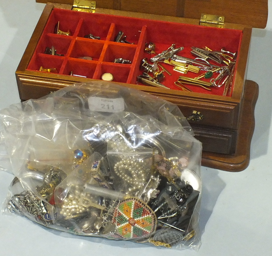 Lot 211 - A white metal and diamanté bracelet, a quantity of costume jewellery, pocket watches, cufflinks,