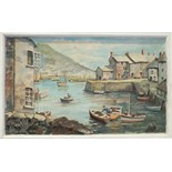 Angus Ellery, 'Polperro', signed oil painting on raised plaster, on board, 36 x 60cm and another, '