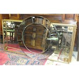 A pair of modern gilt-framed bevelled rectangular wall mirrors, 177 x 86cm and a circular mirror, (