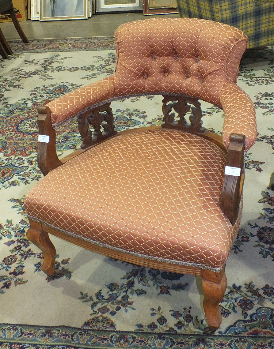 Lot 2 - An Edwardian walnut frame tub-style chair with padded button back and arms, with upholstered seat,