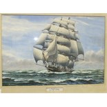 George R Wiseman, 'Cutty Sark', a signed watercolour, 37 x 55cm, titled on mount.