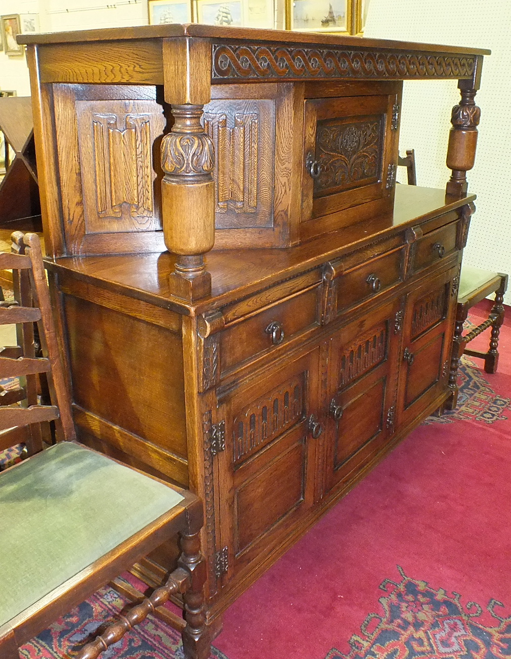 Lot 1 - An oak draw-leaf table on bulbous end supports united by a stretcher, 121 x 76cm, closed, 181 x 76cm