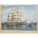 George R Wiseman, 'Star of India', a signed watercolour, 37 x 55.5cm, titled on mount.