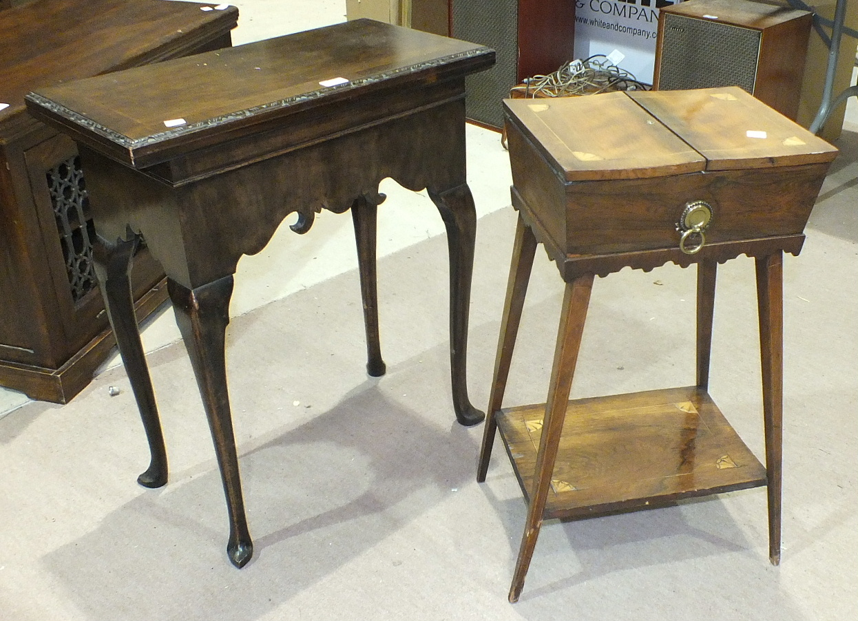 Lot 15 - A walnut fold-over card table in the 18th century style with rectangular top, on shaped frieze and