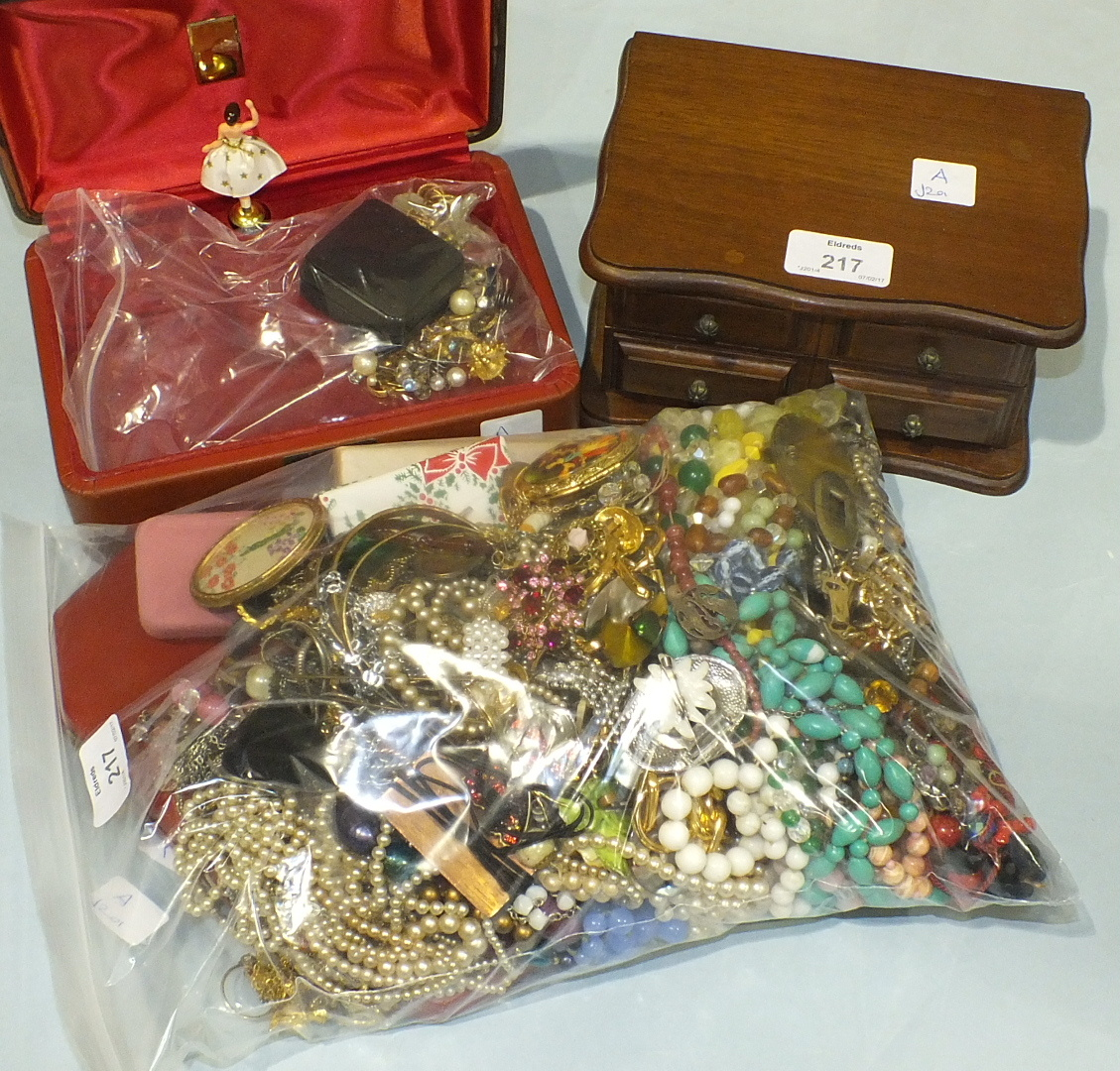 Lot 217 - A large quantity of costume jewellery and two jewellery boxes.