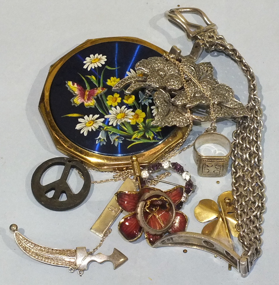 Lot 209 - A 925 silver bracelet in the form of a belt and buckle, a compact and a small quantity of costume