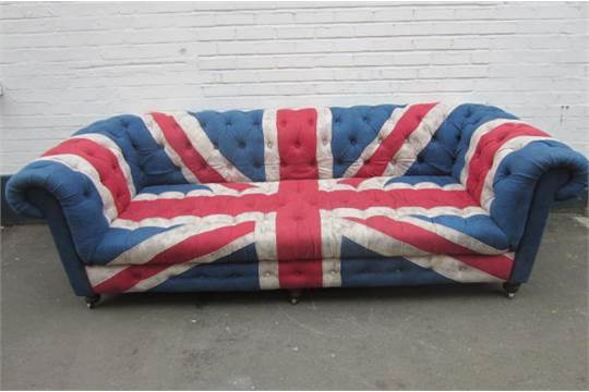 Three Seater Cool Britannia Union Jack Chesterfield Sofa On Six