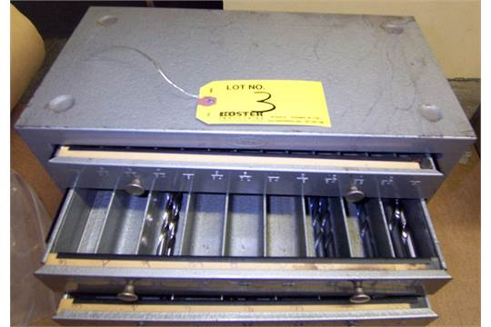 HUOT DRILL CABINET WITH ASSORTED DRILL BITS