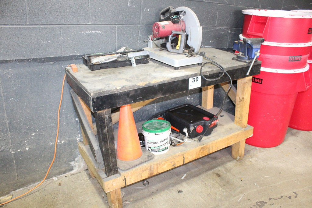 """WORKBENCH-37"""" X 55"""" X 24"""" WITH 6"""" CENTRAL FORGE VISE AND CHICAGO ELECTRIC CHOP SAW"""