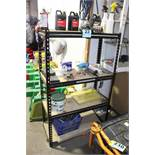"STEEL SHELVING UNIT WITH CONTENTS-58"" X 36"" X 18"""