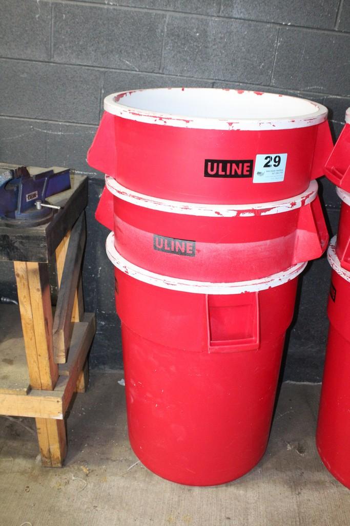 (3) U-LINE TRASH CANS
