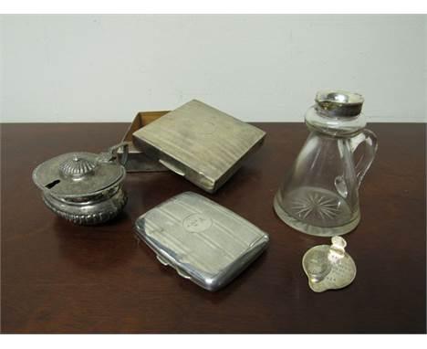 Silver cigarette box, silver cigarette case, mustard and noggin all a/f 119g (weighable items)