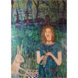 "Julie Barnes (British, B.1970) ""Nature and Nurture"", oil & acrylic on board, framed under glass,"